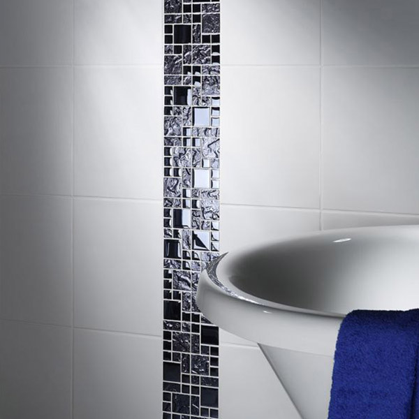 Black Reflective Mix Glass Modular Mosaic Tile Belfast