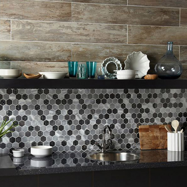 Colby Black Mix Glass Metal Hexagon Mosaic Tile Belfast
