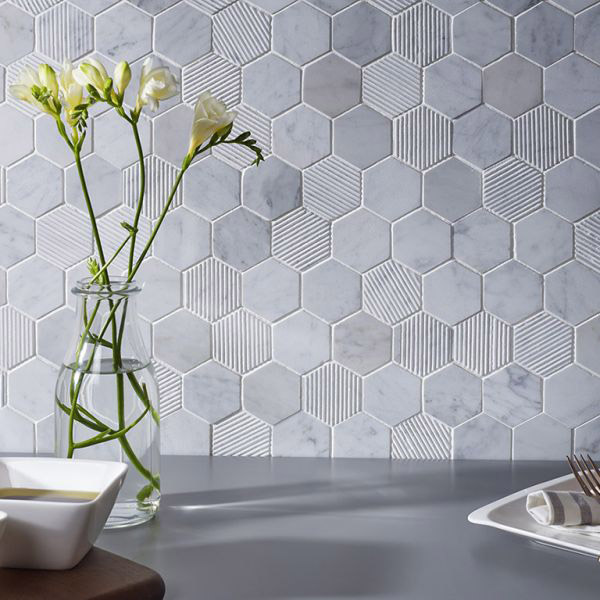 Fog Stone Hexagon Mix Finish Mosaic Tile Belfast