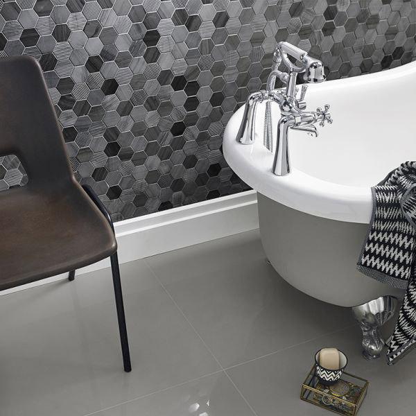 Midnight Stone Hexagon Bellagio Grey Mosaic Tile Belfast - The Tile ...