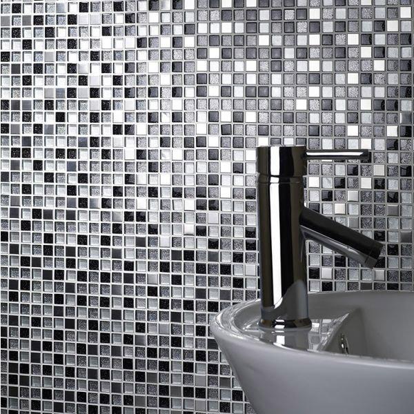 sparkle chrome black white glass metal mix mosaic tile belfast the